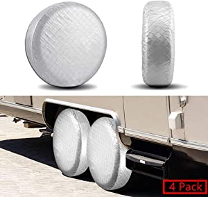 YBB Set of 4 RV Tire Wheel Covers, Trailer Spare Tire Covers, Waterproof UV Sun Tire Protector Covers for Car Camper, Fits 24