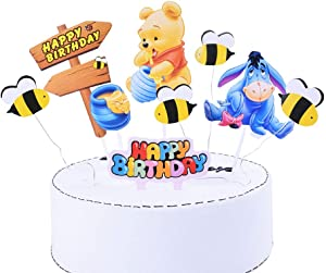 SHAMI Happy birthday Day The Pooh Bear Cake Topper Cupcake Toppers for Bear Themed Happy Birthday Party Baby Gender Reveal Party Baby Shower First Decoration