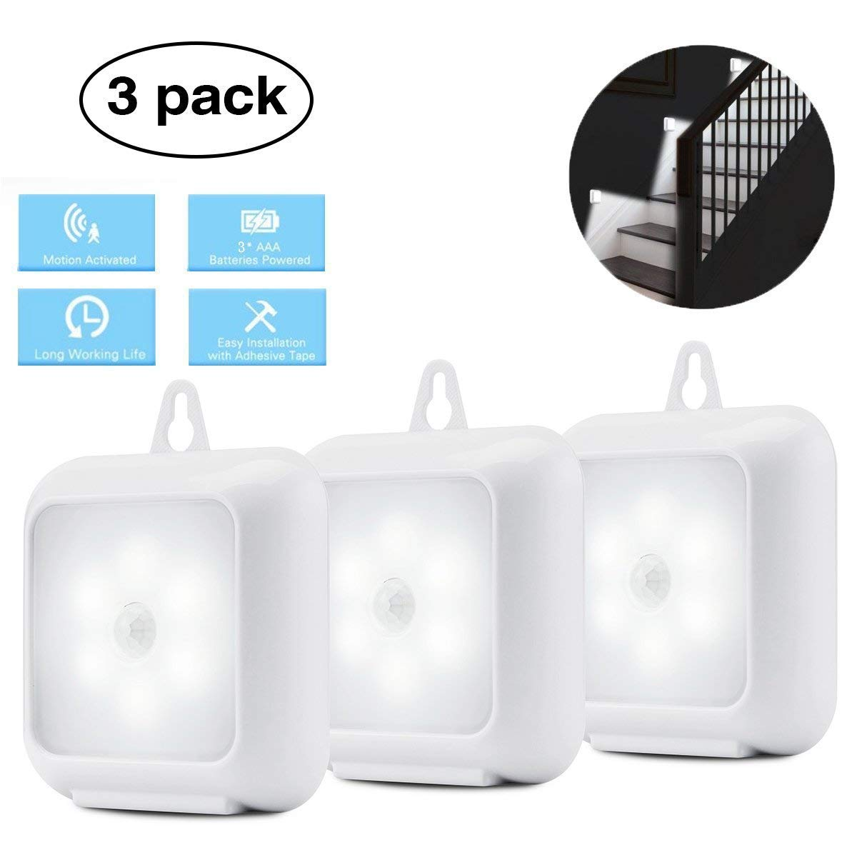 Closet Lights, Elfeland Under Cabinet Lighting Motion Sensor Lights Battery Powered Stick On Anywhere Hanging Wall Light for Kitchen Hallway Stair Basement Garage(3 Pack,White)