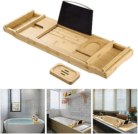 ZeHuoGe Bandeja de bambú extensible para tina de baño, bandeja compacta para servir la mesa de