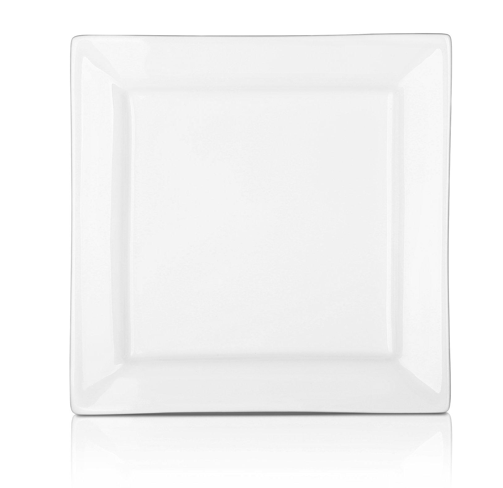 DOWAN 10 Inch Porcelain Square Dinner Plates - 4 Packs, White