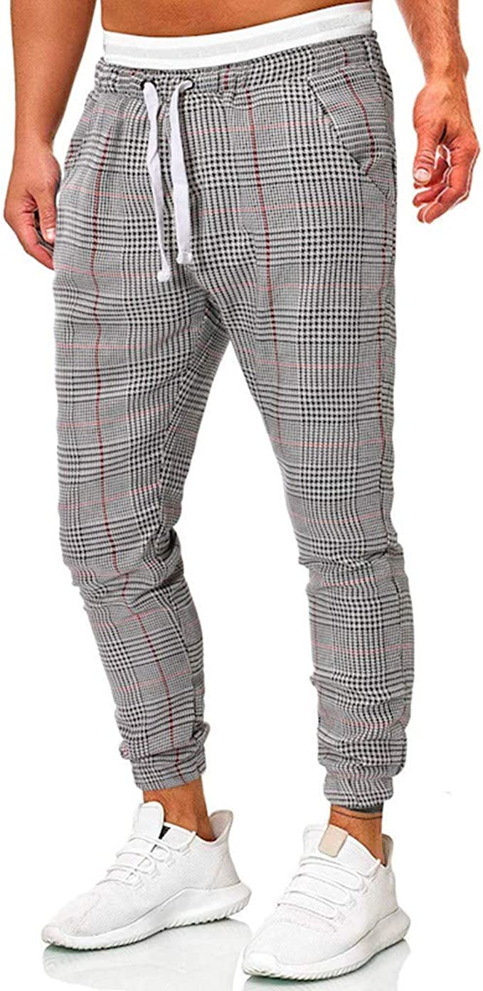 MOUTEN Men Stitching Elastic Waist Casual Slim Straight Leg Pants Trousers