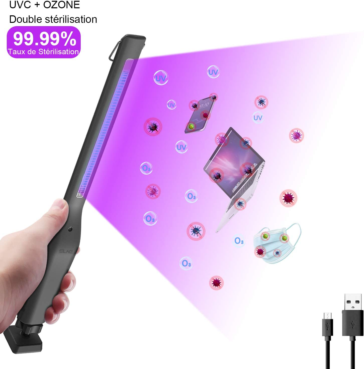 ELAW Lámpara de Desinfección UV, Esterilizador Portátil USB 254nm UVC+Ozone, Esterilización Eficiente 99.99%, Temporizador de 30Minutos, Desinfección, Desodorización y ácaros Multifunción
