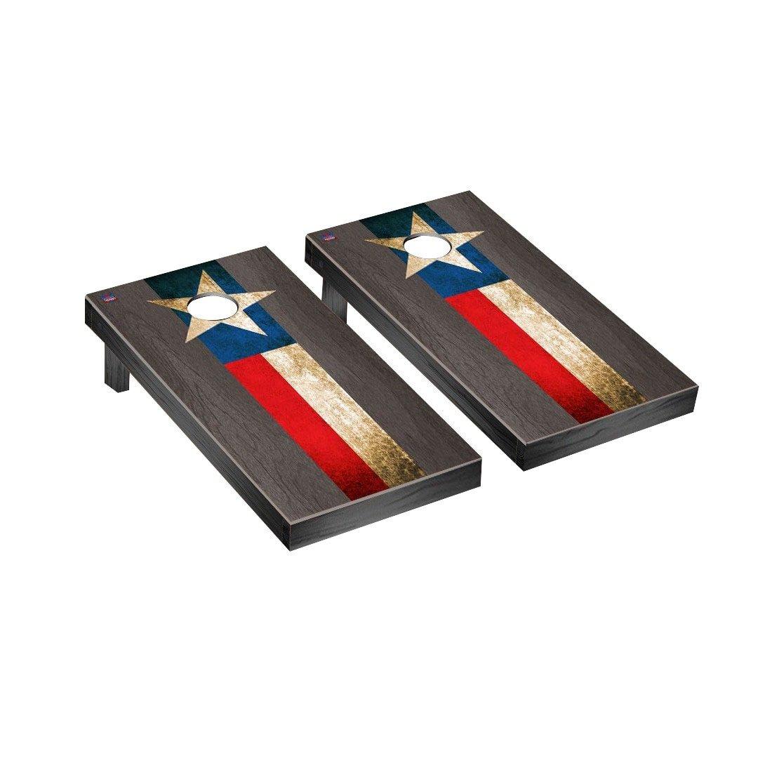 Texas FlagヴィンテージCornhole Game SetオニキスStainedストライプバージョン B018UKLE9W