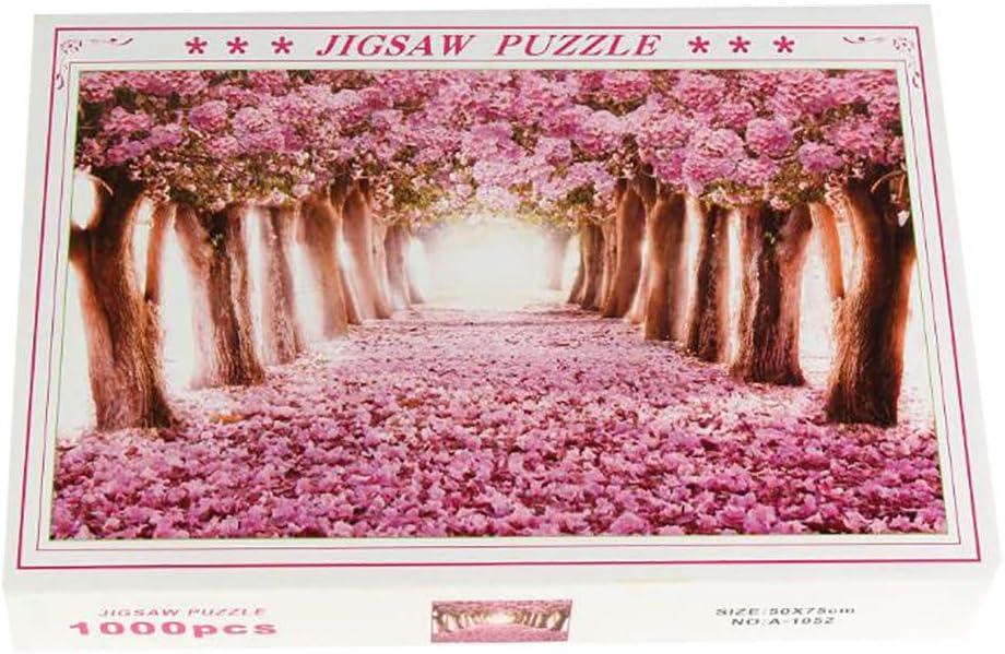 Deajing Puzzle 1000 Piezas Puzzles Adultos Juguetes Niños Educa Puzzles Juego de Rompecabezas Juguete Educativo Patrón de Paisaje Flor Rosa Jigsaw Puzzle 29.53 x 19.69inch