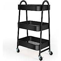 KK KINGRACK 3-Tier Utility Rolling Cart with Large Storage and Metal Wheels for Office,Kitchen,Bedroom,Bathroom,Black…