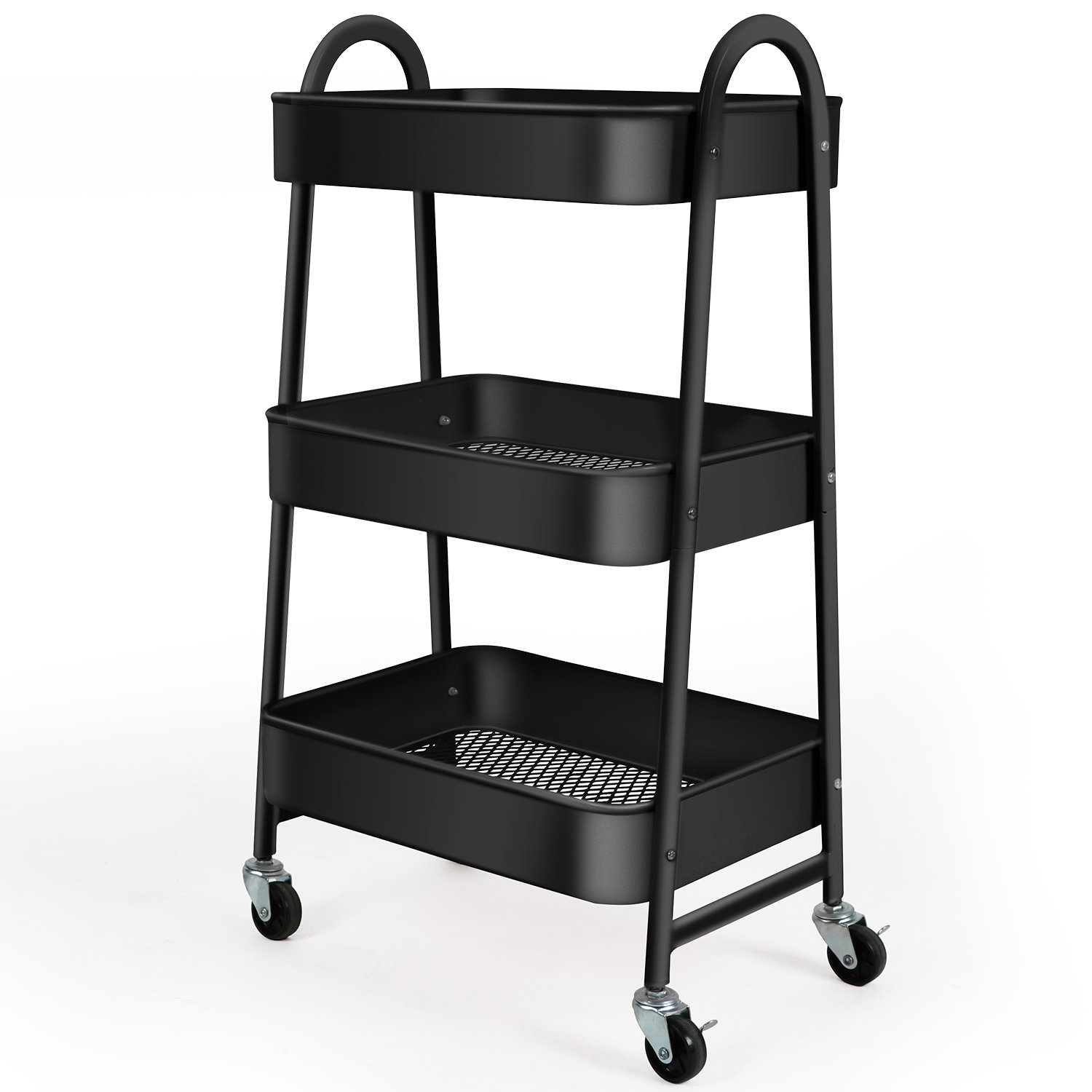 Merveilleux Amazon.com : 3 Tier Utility Rolling Cart With Large Storage And Metal  Wheels For Office, Kitchen, Bedroom, Bathroom, Black 130839 : Office  Products
