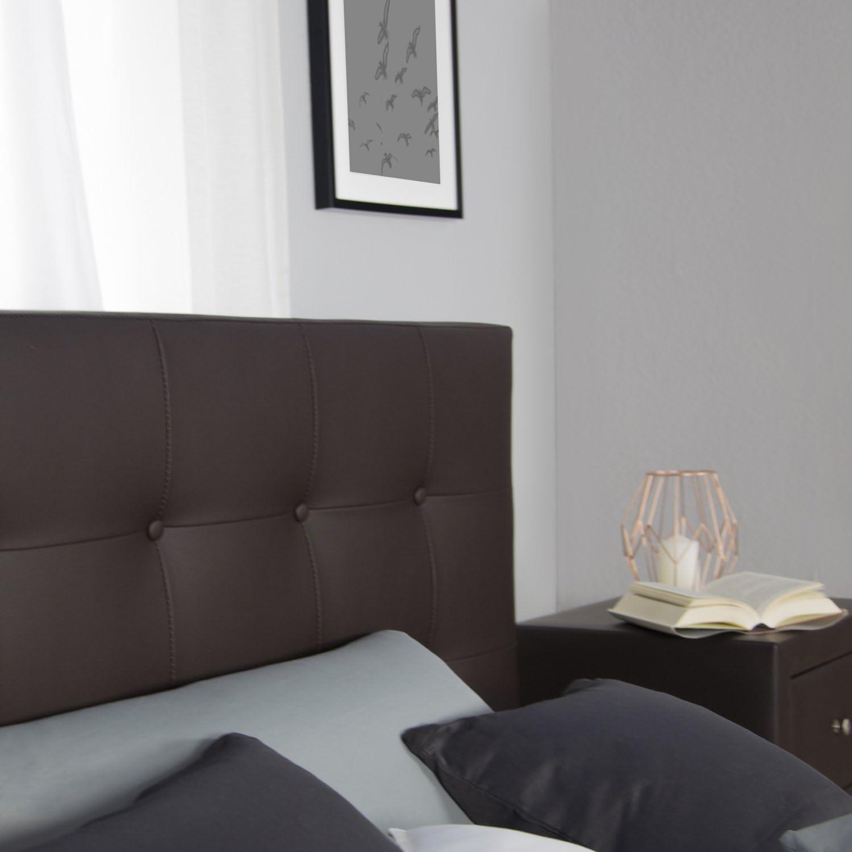 Homestyle4u 1833 Lit capitonn/é avec sommier /à lattes et dossier en cuir synth/étique Marron 140 x 200 cm