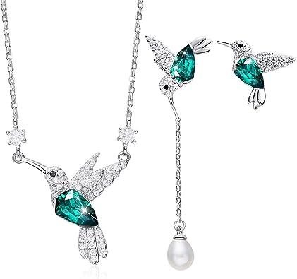925 Sterling Silver Crystal Heart Earrings Necklace Set Women Jewelry Xmas Gift