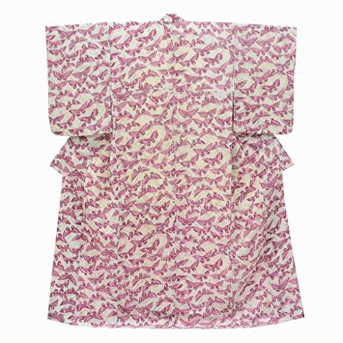 リサイクル 小紋 中古 正絹 縮緬 こもん 蝶文様 裄64.5cm グレー系 裄Mサイズ 身丈Lサイズ ll0332c