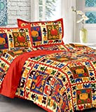 UniqChoice Cotton 100% Red & Gray Color Saganari King Size Double Bed Sheet With 2 Pillow Cover
