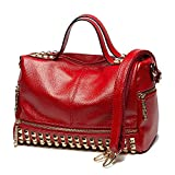 Mn&Sue Punk Motorcycle Bling Rivet Studded Red Purse Women Handbag Top Handle Satchel Crossbody Bags