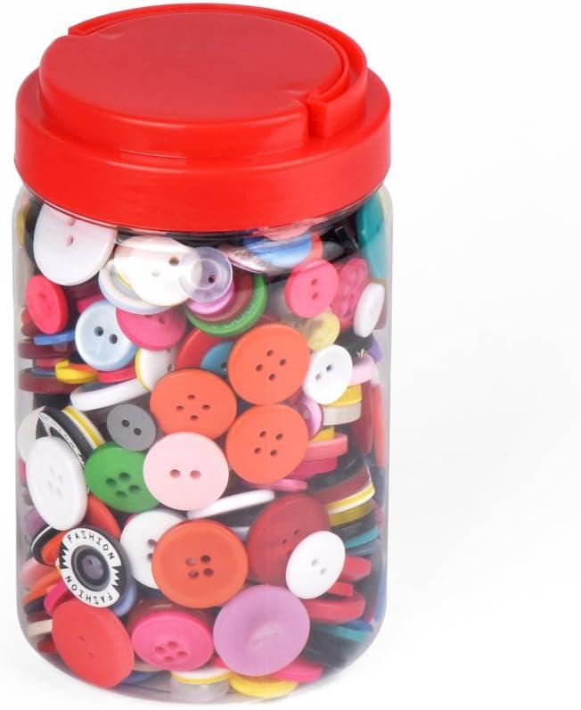 ewtshop 1000Botones de plástico de Colores, Redondo, para Manualidades, 2y 4Agujeros, Varios Colores y Tamaños, con Schöner Caja, para Costura, DIY, Trabajos manuales, Manualidades con Niños