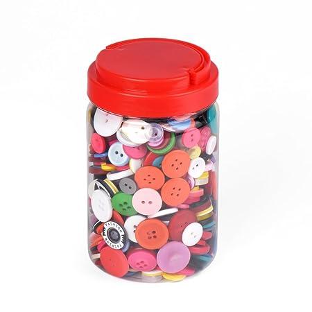 ewtshop 1000 Botones de plástico de Colores, Redondo, para Manualidades, 2 y 4 Agujeros, Varios Colores y Tamaños, con Schöner Caja, para Costura, ...