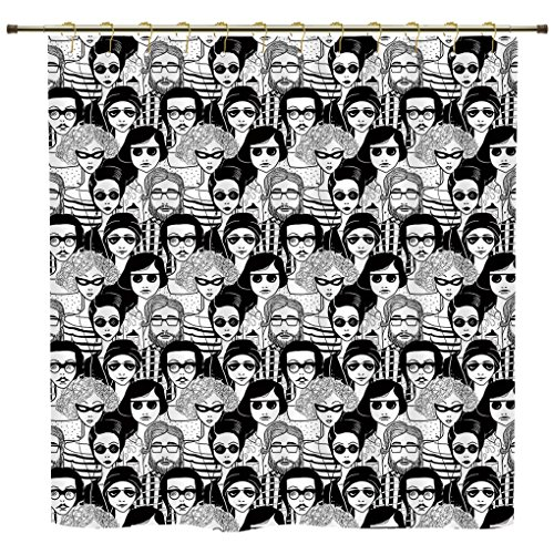 Shower Curtain,Doodle,Crowded Street Sunglasses on Everybody