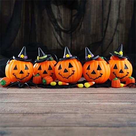 AOFOTO 8x8ft Cute Halloween Pumpkin Face Backdrop Happy Hallowmas Party  Black Hat Jack O Lantern Poster Decoration Wallpaper Kids Trick or Treat  Photo