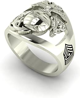 product image for Solid 18K White Gold Marine Corps Ring with Open Back Eagle Globe and Anchor, USMC and MGYSGT Rank MR10