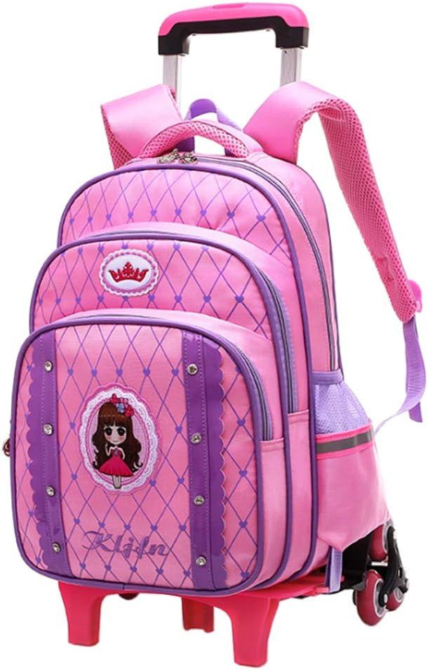Gtagain Mochilas Bolsas Escolares - Niños Princesa Trolley Bolsa Extraíble Mochilas Infantiles Escuela de Estudiantes de Viajes Maleta con Ruedas