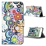Kit Me Out CAN® Apple iPhone 7 Plus [PU Leather] Protective Book Folio Flip Case Cover - Multicoloured Circles With Flowers
