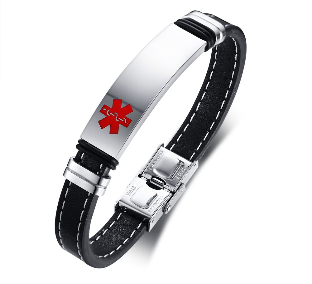 Mealguet Jewelry Free Engraving- Stainless Steel and Leather Medical Alert ID Cuff Bracelet for Men,8.2''
