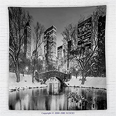 59 x 59 Inches Landscape Fleece Throw Blanket Cityscape New York City in Winter Central Park Snowy Buildings Photo Art Blanket Grey and Dimgrey