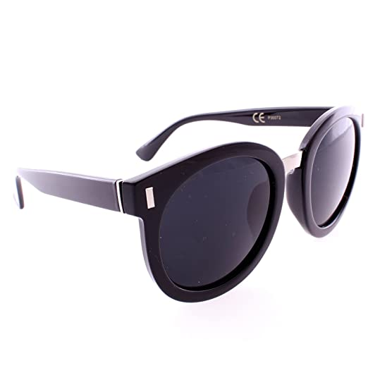 0990a5a6f1 Amazon.com  Retro Round Thick Frame Sunglasses - Black Frame Black ...