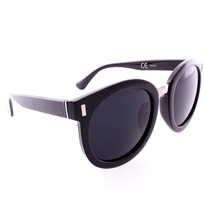 Amazon.com: Retro Round Thick Frame Sunglasses - Black Frame / Black ...