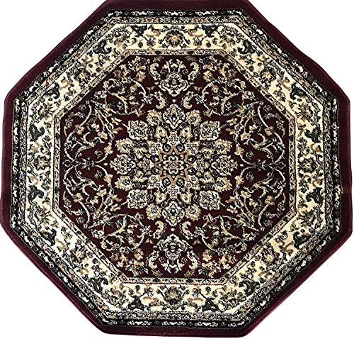 Rug Octagon - Deir Debwan Traditional Octagon Persian 330,000 Point Oriental Area Rug Burgundy Design 603 (4 Feet X 4 Feet)
