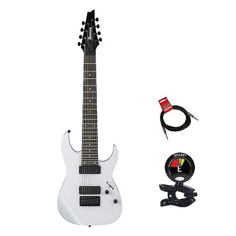 Ibanez rg8wh cuerpo sólido 8 cadena modelneck guitarra eléctrica paquete en blanco con Guitas Clip On