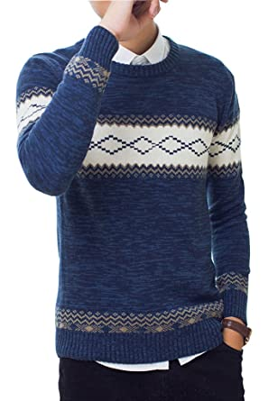 Minetom Homme l automne Hiver Sweatshirt Manches Longues Col Rond Pull  Geometrique Imprime Blouse Tops 6bc0c79d3bf