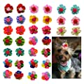 Yagopet 10pcs Pack Dog Hair Bows Cute Bright Flowers Designs Rubber Bands Dog Topknot Bows For Holidays Pet Dog Grooming Bows Supplies Dog Hair Accessories