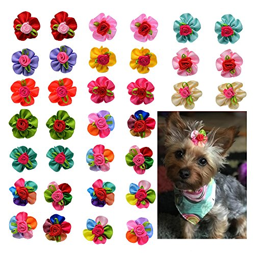 (Yagopet 10pcs/pack Dog Hair Bows Cute Bright Flowers Designs Rubber Bands Dog Topknot Bows for Holidays Pet Dog Grooming Bows Supplies Dog Hair Accessories)