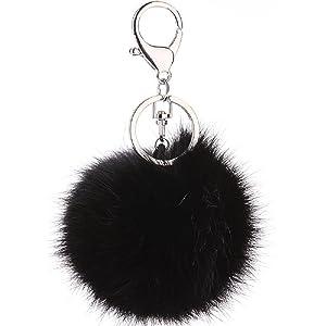 CHMING Cute Genuine Rabbit Fur Ball Pom Pom Keychain for Car Key Ring  Handbag Tote Bag f70b13ee6f6b