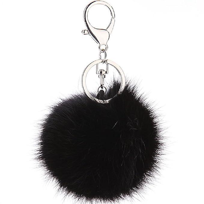 CHMING Cute Genuine Rabbit Fur Ball Pom Pom Keychain for Car Key Ring Handbag Tote Bag Pendant