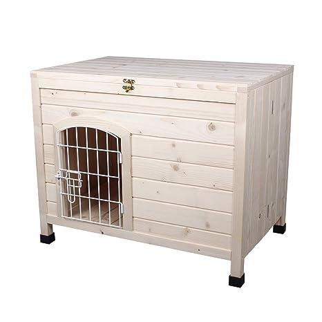 Amazon.com: LINLUX - Casa de madera para perro con puerta de ...