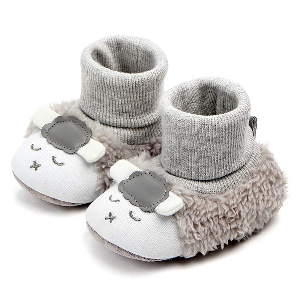 tongyouyuan Chaussures Bébé Premiers Pas Bébé Fille Garçon Chaud Chaussons Cuir Souple Bébé Peluche Chausson Bébé Antidérapant Hiver Epais/Bébé Âge Recommandé
