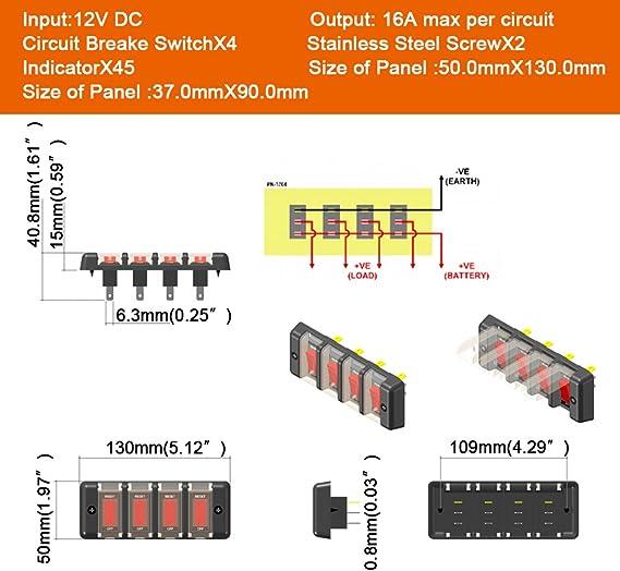 Qiilu 4 Gang 12V Interrupteur /à bascule Panneau De Commande Du Disjoncteur Etanche pour la voiture RV Marine Boat