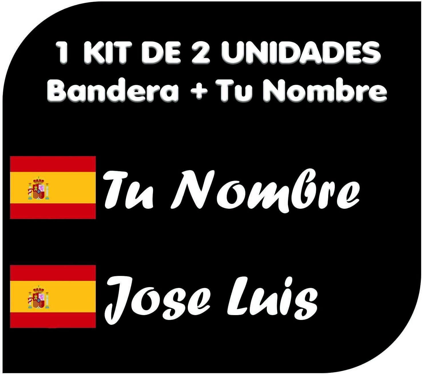 Pegatina Vinilo Bandera España + tu Nombre - Bici, Casco, Pala De Padel, Monopatin, Coche, Moto, etc. Kit de Dos Vinilos (Pack Fuentes 1): Amazon.es: Coche y moto
