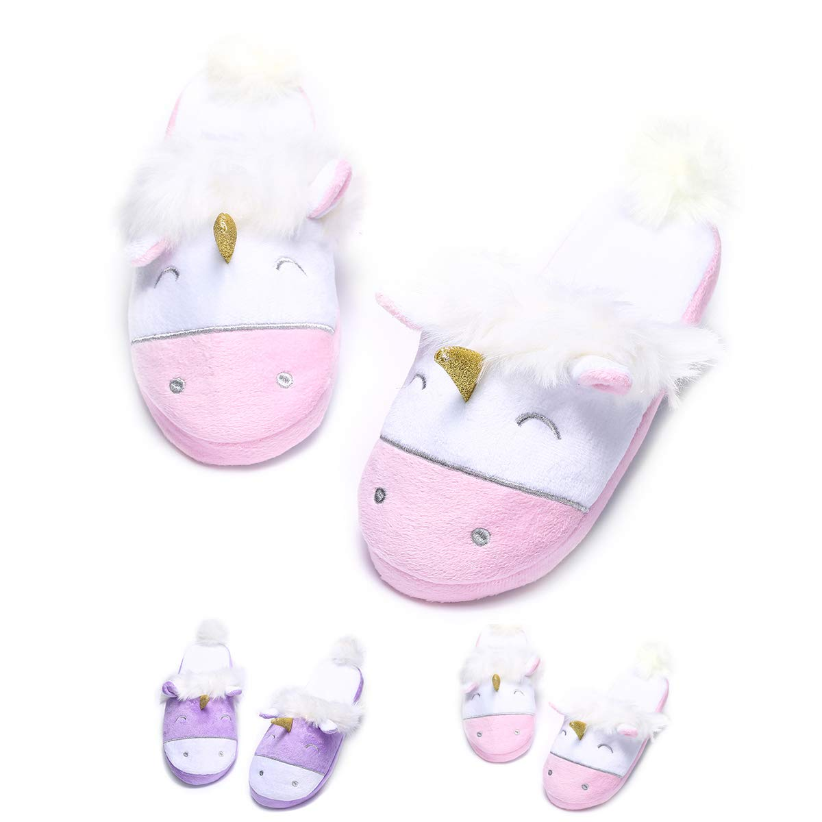 Unicorn Plush Slippers Women Animal Cartoon Comfy Cute Warm Lightweight Home Indoor XZ-MU235