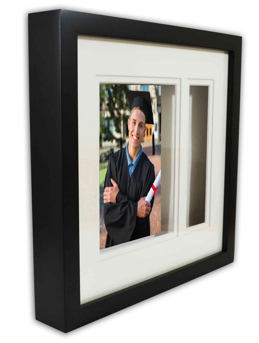 Golden State Art, Graduation Shadow Box Frame with Double Mat, Real Glass and Tassel Insert, Black - Black frame with double mat and real glass 5 by 7 opening for the graduates picture 1-1/2 by 6-1/2-inch opening for the graduates tassel - picture-frames, bedroom-decor, bedroom - 61jMn0qoZbL -