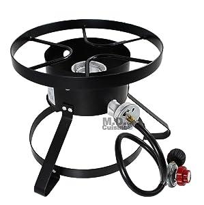 High Pressure Burner Outdoors Cooking Gas Single Propane Stove Camping Quemador w/ Hose & Regulator
