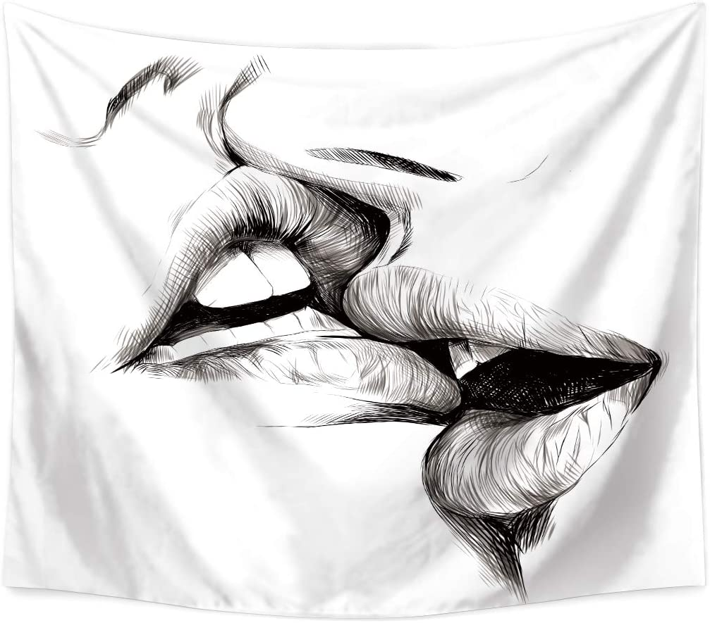 QCWN Woman Men Kissing Tapestry,Abstract Sketch Art Kiss Lovers Wall Hanging...