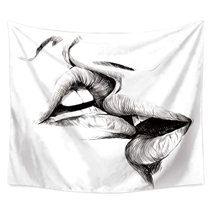 Amazon QEES Women Men Kissing Tapestry White Wall Hanging Decor