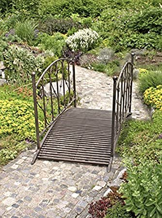Garten Brücke Deko Garten Gestaltung Vintage Style Metall   Hochwertige  Teichbrücke Zierbrücke ALS Garten Dekoration