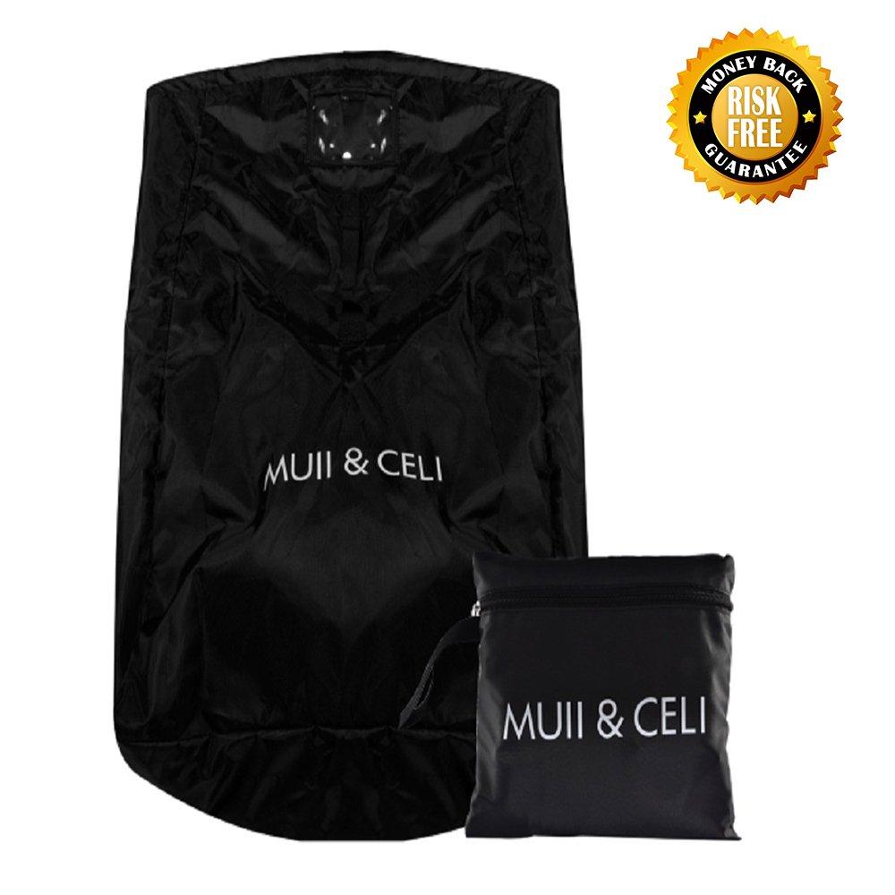 Large Gate Check Travel Luaage Bag with Backpack Shoulder Straps, Lightweight Baby Car Seat Storage Bag Stroller Carrier Best for Airplanes Trains (Black)