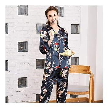 HAOLIEQUAN Set De Pijama Colorido Estampado Floral Profundo V Tops De Mujer + Pantalón Largo Camisones