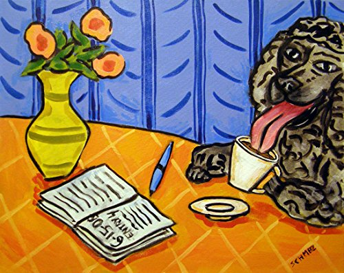 Poodle at the Cafe Coffee Shop signed dog art print Orange - At The Shops Orange