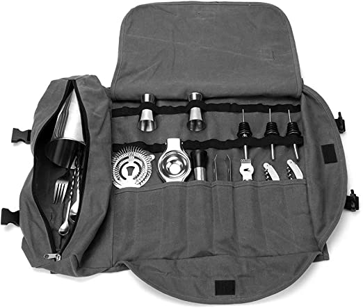 Bartender Case Wine Tools Roll Bag Bar Drink Cocktail Mixer Kit Just Carry Case!