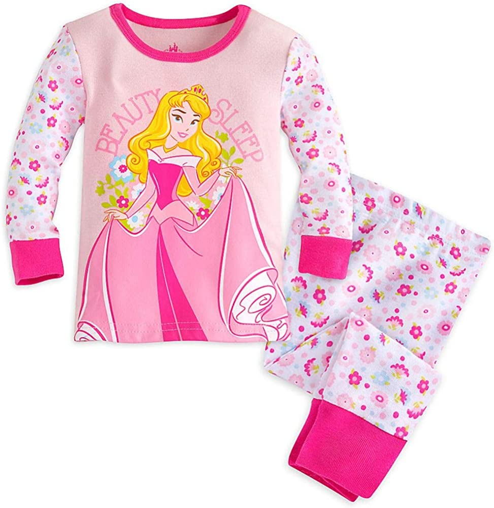 Disney Store Princess Aurora Baby Girl Long Sleeve Tight Fit Pajama Set Size 18//24 Month