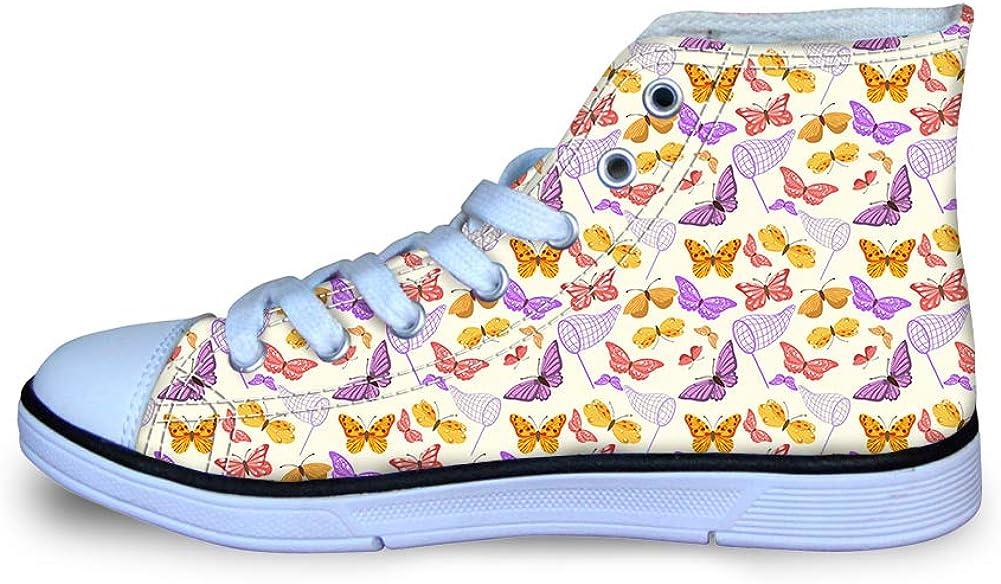 Canvas High Top Sneaker Casual Skate Shoe Boys Girls Net Pocket Colorful Butterflies Capture